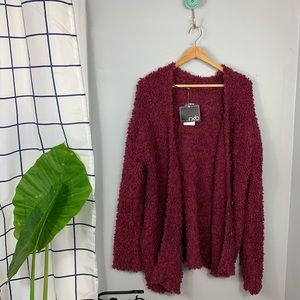 NWT RXB Boucle Maroon Knit Button Cardigan
